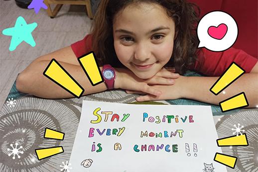 Una alumna nos envía un mensaje de ánimo desde casa
